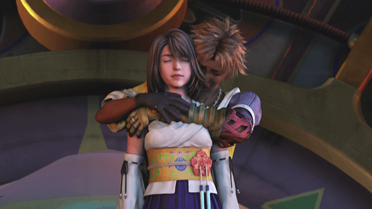 Tidus and Yuna during the final cinematic