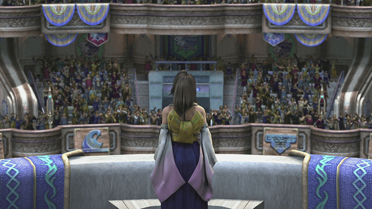 Yuna speaking to the crowd during the final cinematic