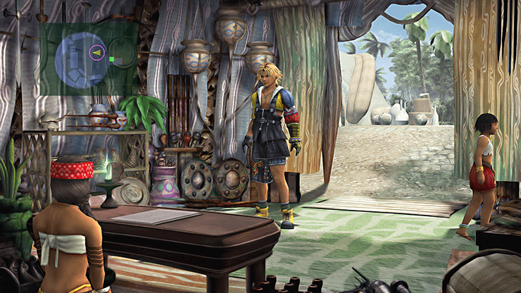 Tidus inside the shop in Besaid Village