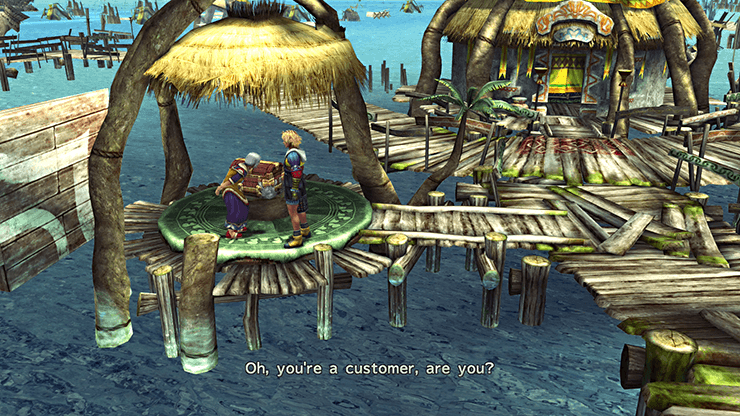 Speaking to the shop owner on the Kilika docks