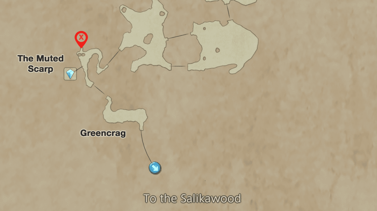 The Location of Roh'kenmou in the Muted Scarp area of Nabreus Deadlands