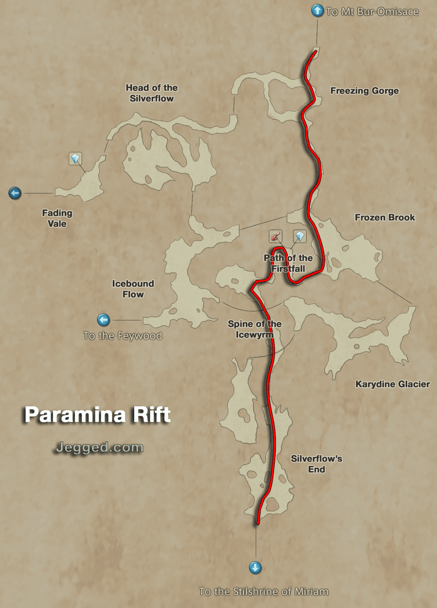 Map of the pathway from Mt Bur-Omisace through the Paramina Rift to the Stilshrine of Miriam