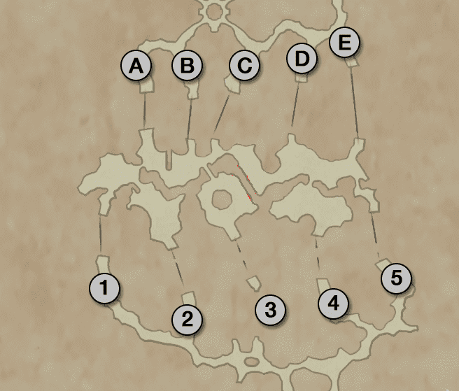 Map of the Sochen Cave Palace - Pilgrim's Door Puzzle