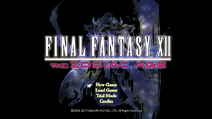 Start Screen for Final Fantasy XII