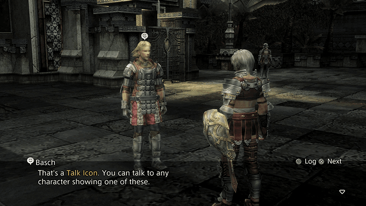 Basch explaining to Reks what a Talk Icon is