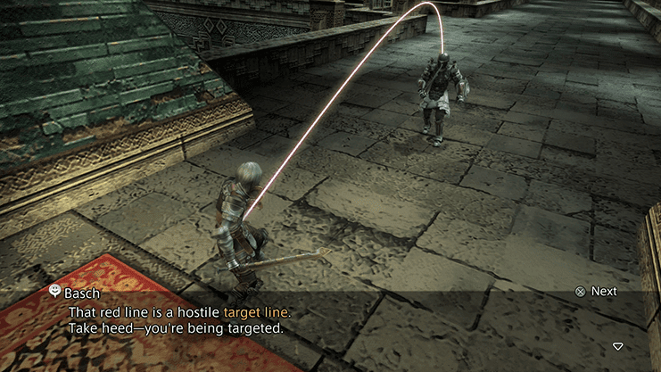 Basch explaining to Reks the meaning behind the hostile target line