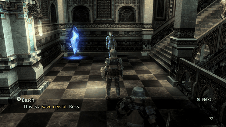 Basch explaining a Save Crystal to Reks
