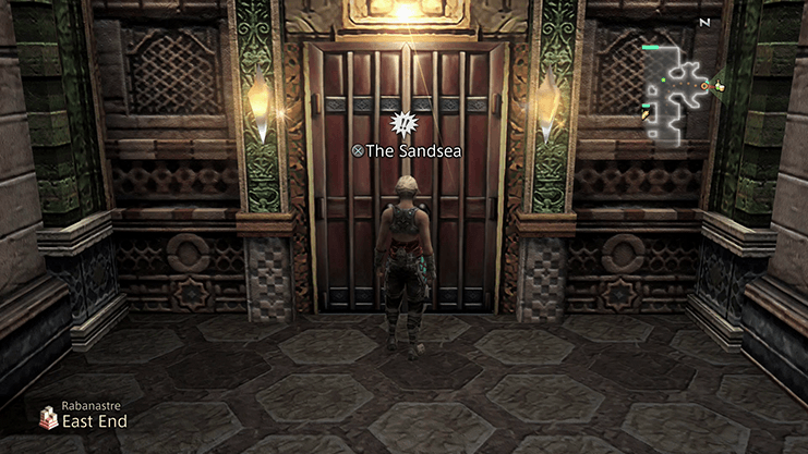 Vaan standing outside of the Sandsea Tavern