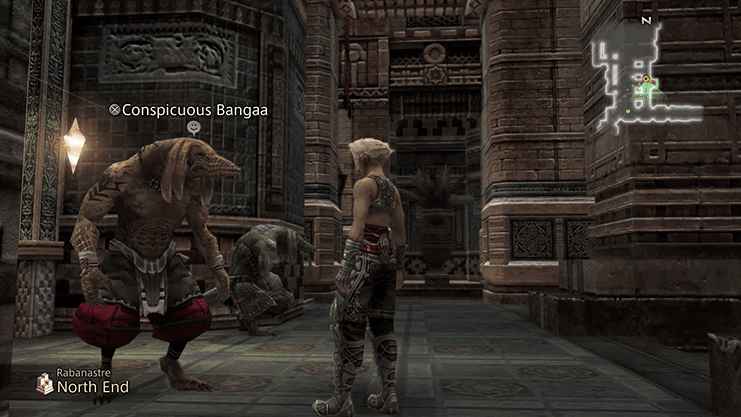 Vaan speaking to the Conspicuous Bangaa outside of the Clan Hall