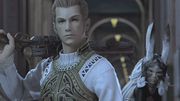Balthier and Fran joining Vaan in the Royal Palace