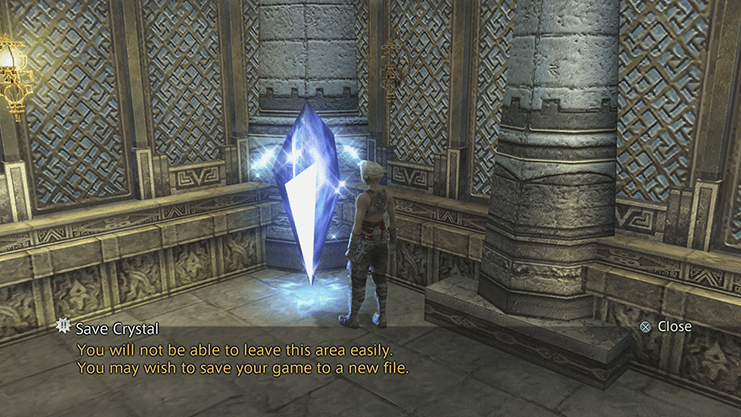 Vaan in the Cellar Stores of the Royal Palace with the Save Crystal
