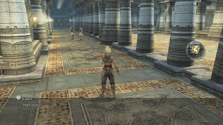 Vaan shouting: Hey, Bucket Head! or Hello!