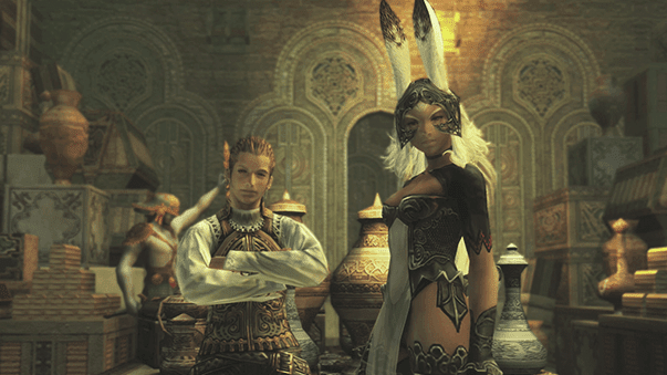 Traveling with Balthier and Fran up the Garden Stairs in the Royal Palace