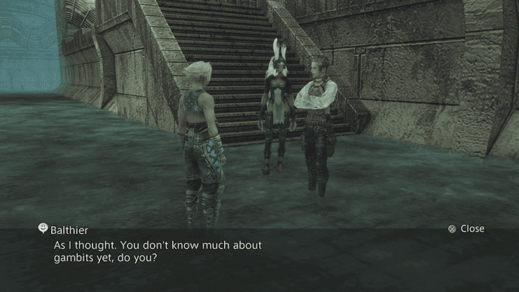 Balthier asking how much Vaan knows about Gambits