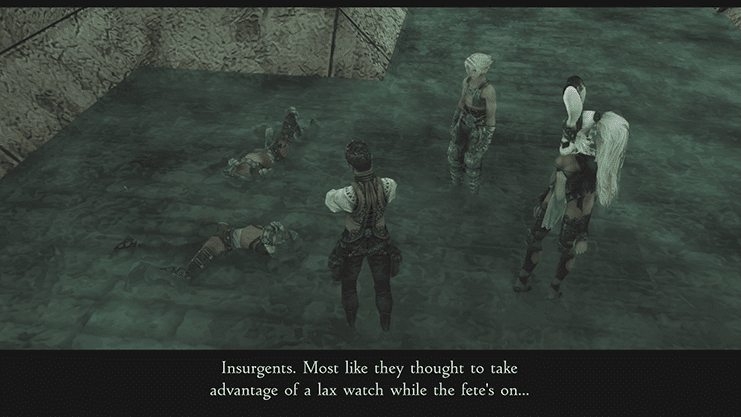 Balthier discussing the Insurgents in the Garamsythe Waterway