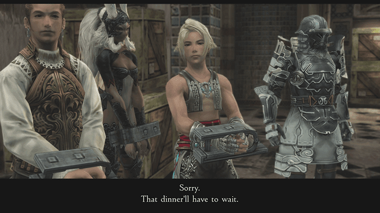 Imperial Soldiers arresting Vaan, Fran and Balthier in Lowtown