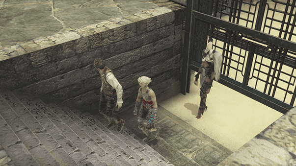 Balthier, Fran and Vaan escaping from the Nalbina Dungeons