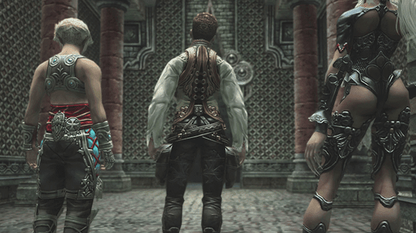 Vaan, Balthier and Fran following the Judge out of the dungeon