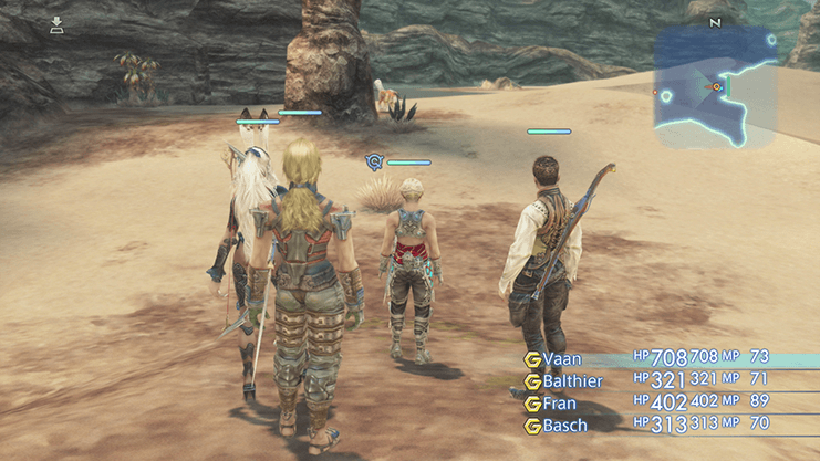 Vaan, Balthier, Fran and Basch standing in front of the Save Crystal in the Dalmasca Estersand