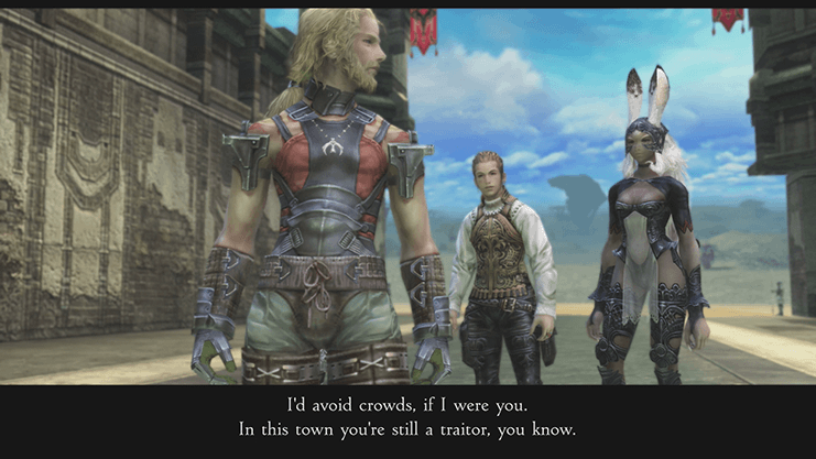 Balthier and Fran warning Basch to stay away from the crowds in Rabanastre for fear of being identified as a traitor