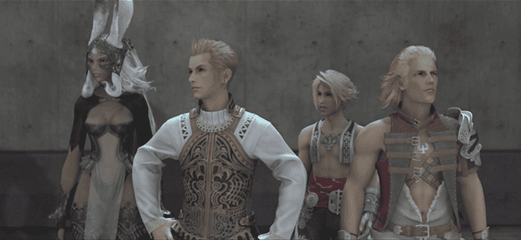 Fran, Balthier, Basch and Vaan in the Aerodrome