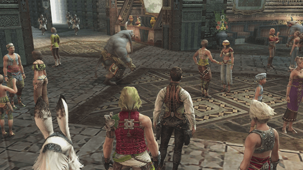 Arrival in Bhujerba with Bash, Balthier, Vaan and Fran visable