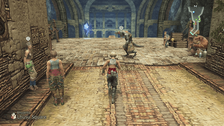 Vaan approaching the Save Crystal in front of the Lhusu Mines in the square