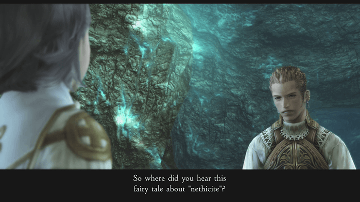 Balthier speaking to Lamont in the Site 2 Area cinematic