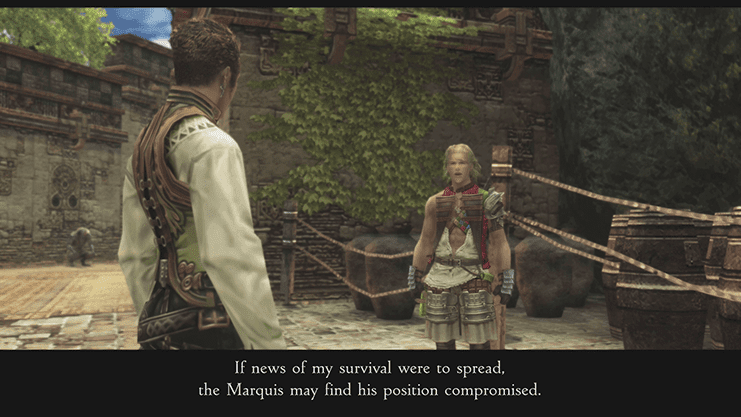 Balthier and Basch discussing the plan to increase his notoriety in Bhujerba