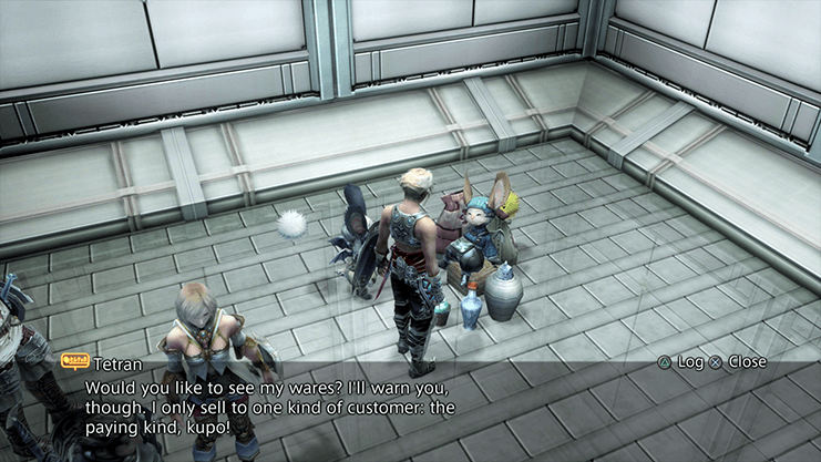 Vaan speaking to Tetran, the vendor, in room C-203 of the Brig No. 1