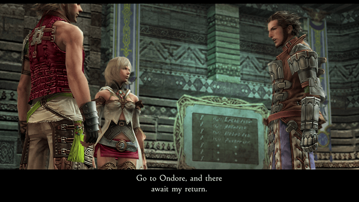 Vossler asking Ashe and Basch to travel to Ondore and await his return