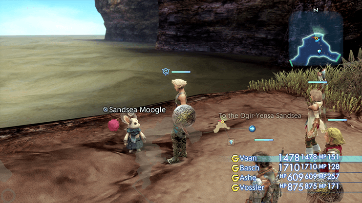 Speaking to the Sandsea Moogle at the entrance to the Nam-Yensa Sandsea