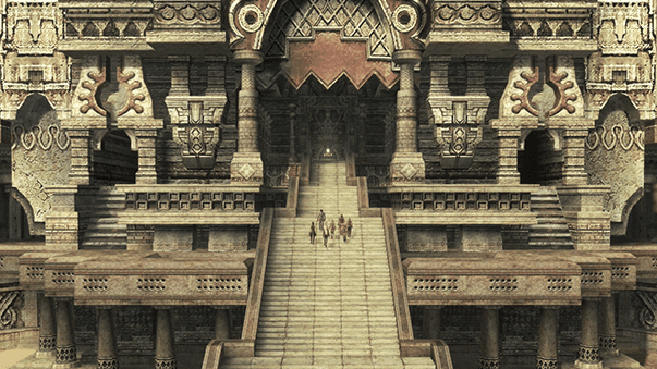The team climbing the stairs leading up to the Tomb of King Raithwall