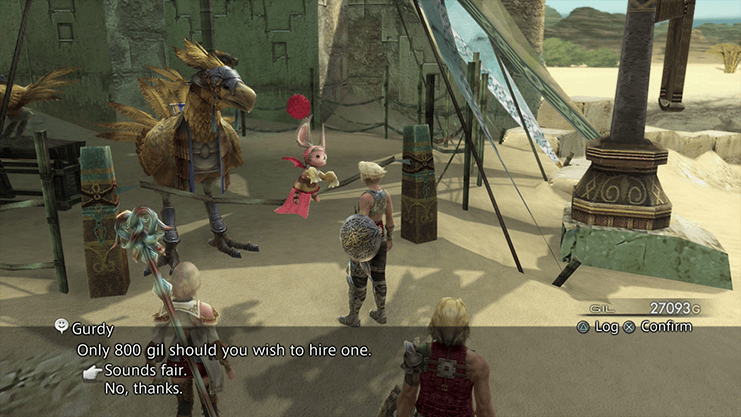 Speaking to Gurdy to obtain a Chocobo in the Nalbina Fortress