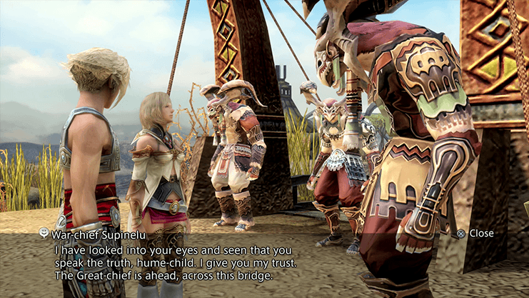 Vaan and Ashe speaking to War-Chief Supinelu