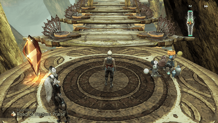 Vaan standing at the entrance to Eruyt Village on the Road of Verdant Praise next to Tetran