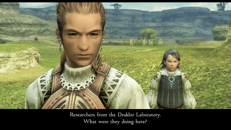 Larsa and Balthier discussing the Draklor Laboratory outside the Henne Mines