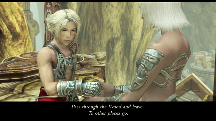 A Viera giving Vaan the Lente's Tear which will allow passage through the Golmore Jungle