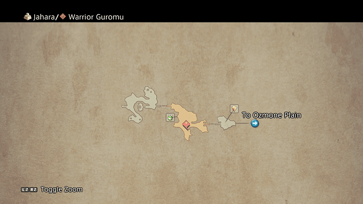 Map of where to find Warrior Guromu in Jahara
