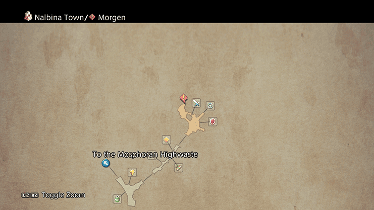 Map indicating where to find Morgen in the Nalbina Town