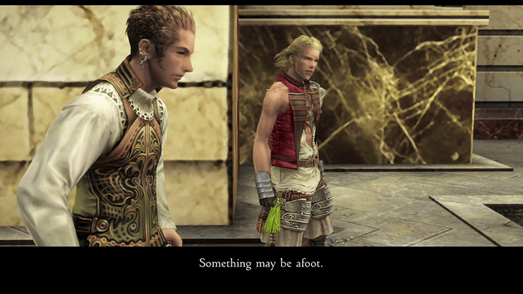 Balthier advocating for caution as the team enters the Draklor Laboratory