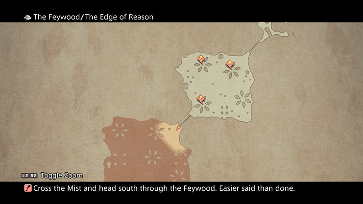Map illustrating where to find the other Feywood Glyphs