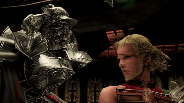 Battle against Gabranth split screen with Basch