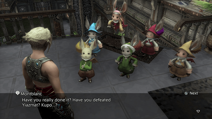 Speaking to Montblanc and the other moogles after completing Hunt 45 - Yiazmat