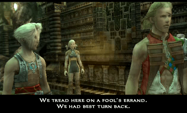 Vaan, Penelo and Basch speaking about the Necrohol of Nabudis