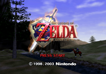 The start up screen for Legend of Zelda: Ocarina of Time