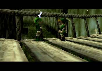 Link and Saria meeting on the bridge leading to Hyrule Field