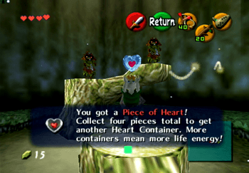 Obtaining a Heart Piece from the Skull Kids in the Lost Woods