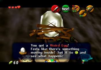 Obtaining the Weird Egg from Malon at the front of Hyrule Castle