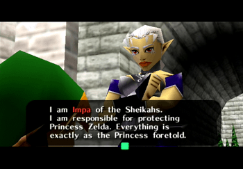 Impa of the Sheikahs introducing herself as Princess Zelda's body guard
